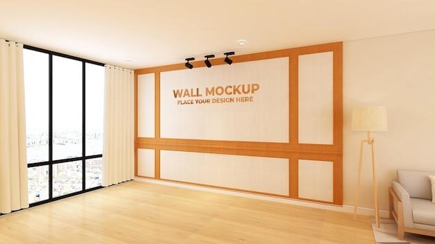 Realistische 3d-logo holz modell büro wand textur