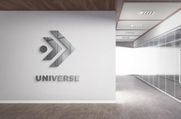 Realistische 3d-logo-modell-bürowand mit realistischer stahlstruktur