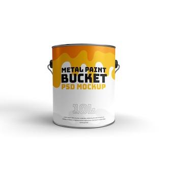 Realistische 3d-mokcup-vorderansicht des metallfarbeneimers