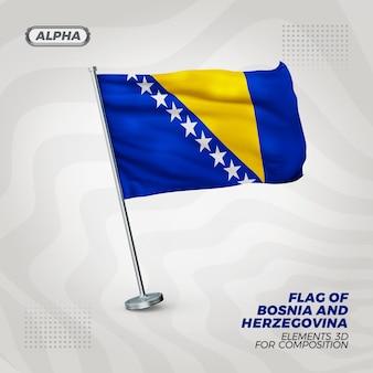 Realistische 3d-strukturierte flagge von bosnien und herzegowina für komposition