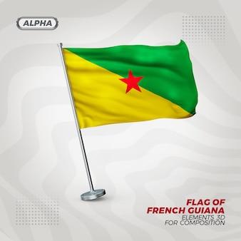 Realistische 3d strukturierte flagge von französisch-guayana für komposition