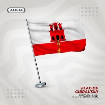 Realistische 3d-strukturierte flagge von gibraltar für komposition