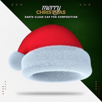 Realistische 3d-weihnachtsmütze für komposition