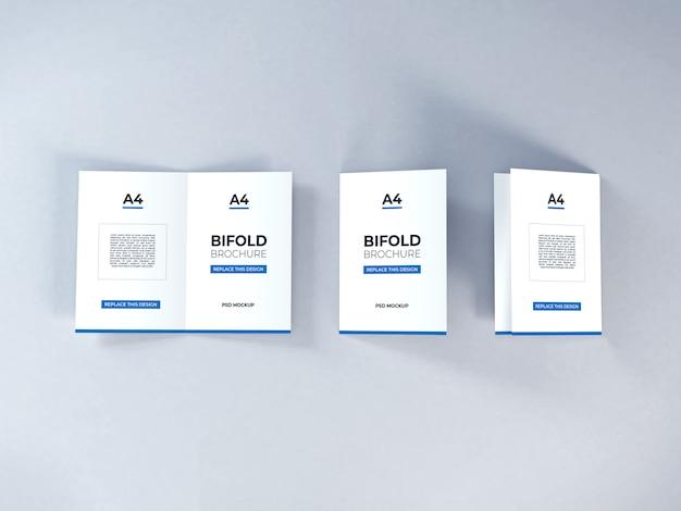 Realistische a4 bifold broschüre mockup template psd