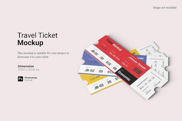 Realistische ansicht travel ticket mockup 3d-rendering isoliert