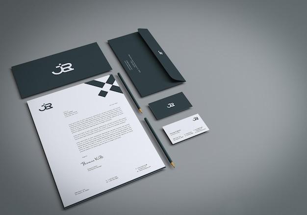 Realistische branding-briefpapier-set-mockup-designvorlage