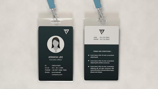 Realistische büroausweis-mockup-designvorlage