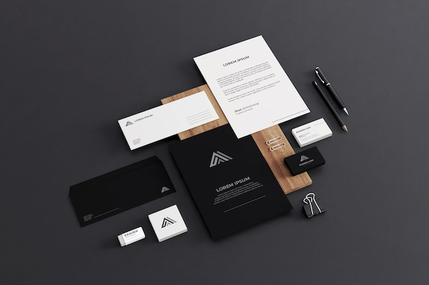 Realistische business stationery mockup company