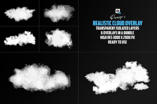 Realistische cloud-überlagerung isolierte überlagerung