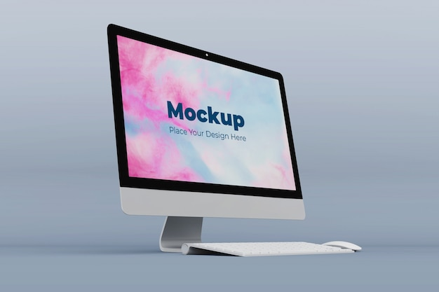 Realistische desktop-bildschirmmodell-entwurfsvorlage