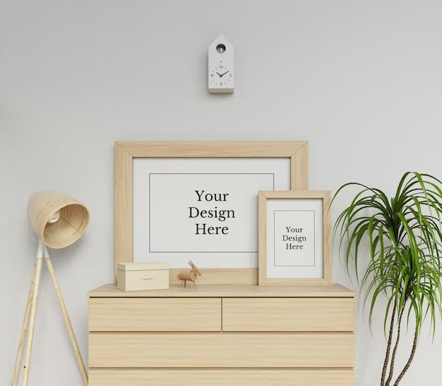 Realistische doppelter plakat-rahmen-spott herauf die design-schablone, die auf einem fach im modernen innenraum sitzt