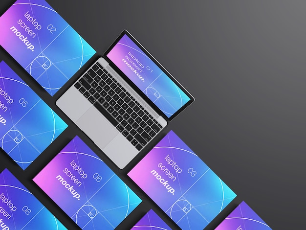 Realistische draufsicht macbook laptop bildschirme modell vorlage