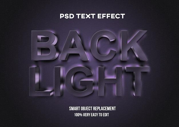 Realistische dunkle texteffektvorlage mit hintergrundbeleuchtung