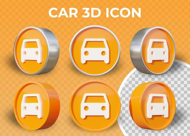 Realistische flache 3d-auto-symbol isoliert