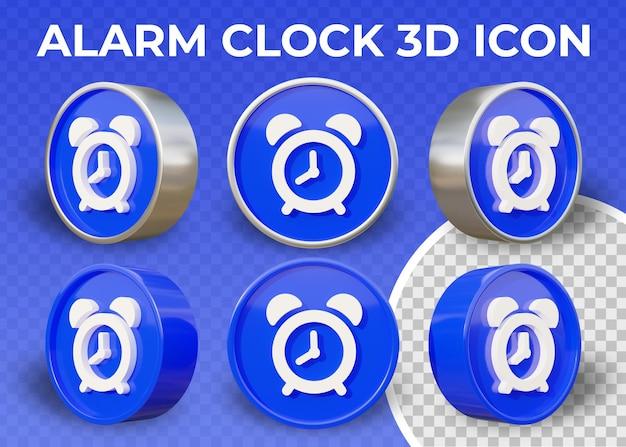 Realistische flache 3d-ikone wecker isoliert Premium PSD