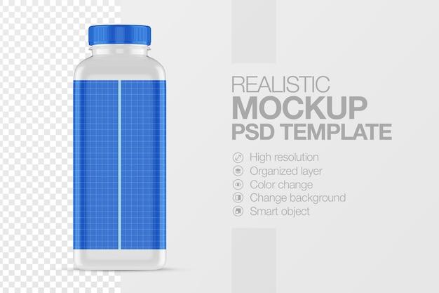 Realistische flaschenquadrat-mock-up-vorlage