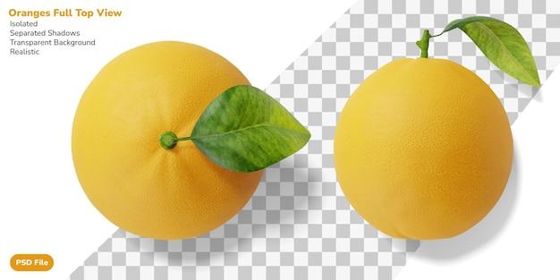Realistische ganze orange mit blatt in der draufsicht lokalisiert