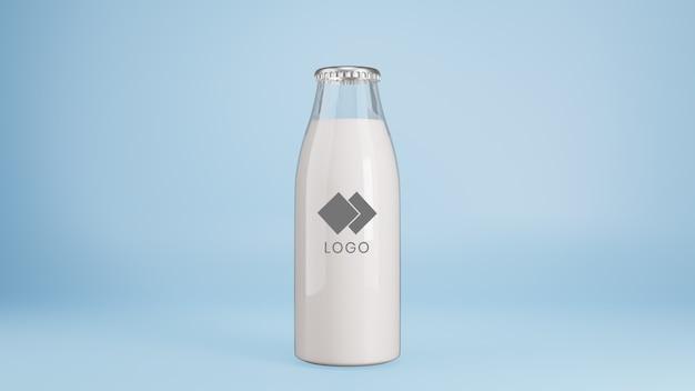 Realistische glasflasche milchmodell