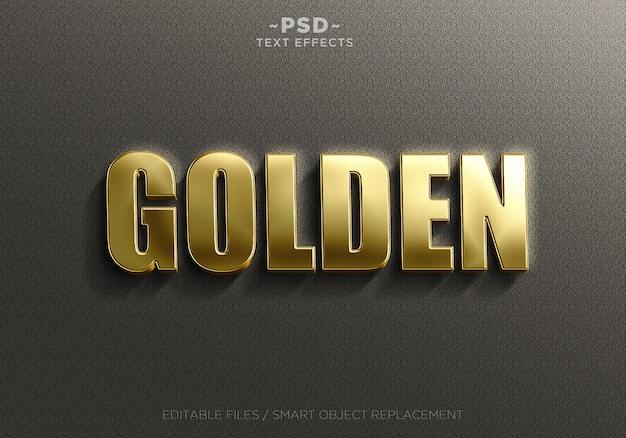 Realistische goldene effekte textvorlage