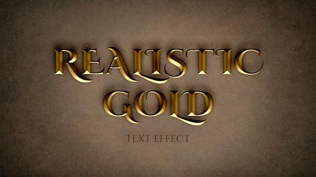 Realistische goldene texteffektvorlage