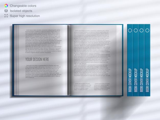 Realistische hardcover-buchdeckel und geöffnete buchseiten mit schattenüberlagerungsmodell