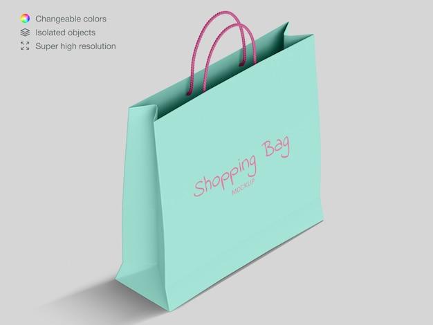 Realistische high angle shopping papiertüte modell vorlage