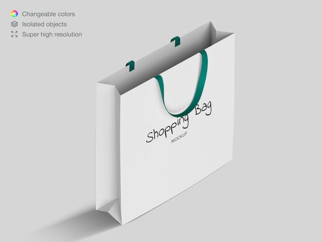 Realistische isometrische einkaufspapiertüte modellvorlage