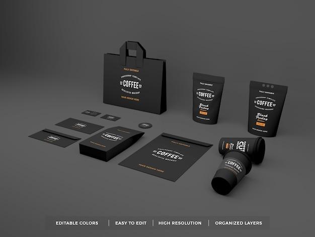 Realistische kaffeemarkenidentität und schreibwarenmodell