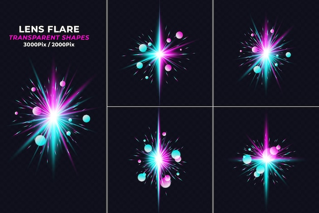 Realistische kräfte crash lens flare lichteffekt-set