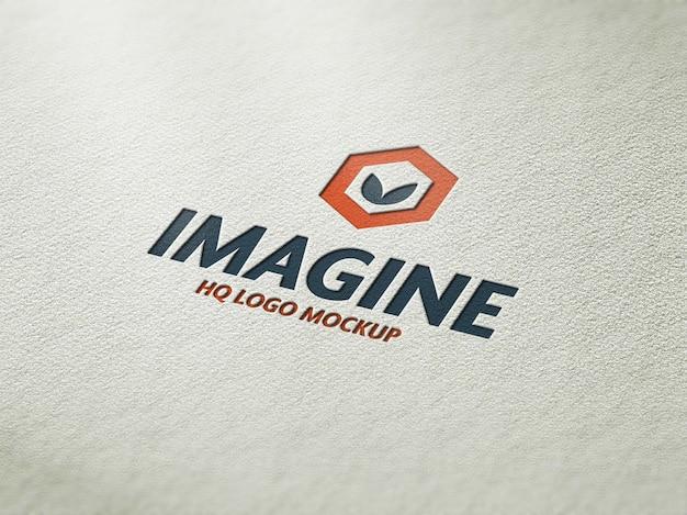 Realistische logo mockup letterpress
