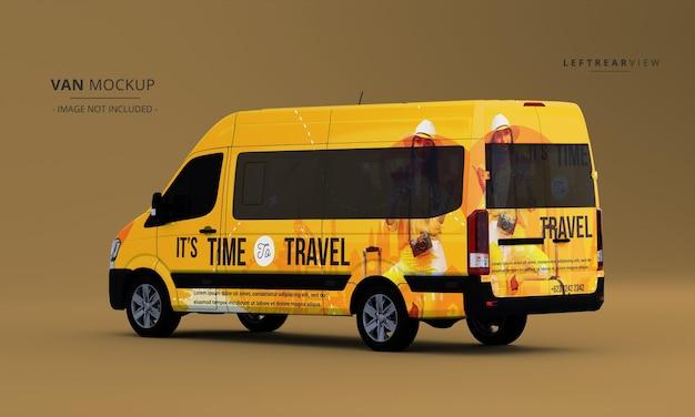 Realistische luxus-van-auto-mock-up-ansicht links hinten