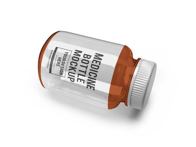 Realistische medizin glasflasche mockup vorlage isoliert