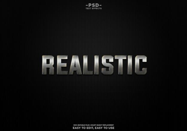 Realistische metall-texteffektvorlage premium psd