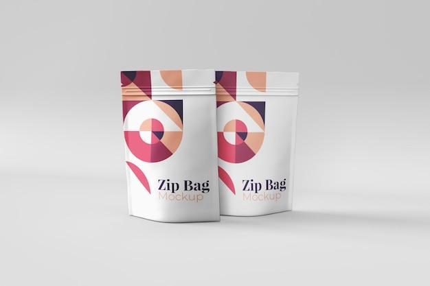 Realistische nützliche und stilvolle mockups mit reißverschlusstaschen