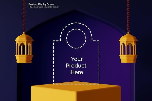 Realistische quadratische podium-produktplatzierungsanzeige des abstrakten islamischen konzepts 3d rendern
