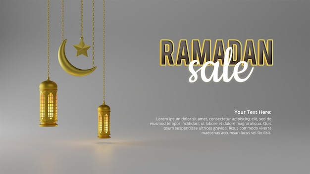 Realistische ramadan verkauf social media banner vorlage