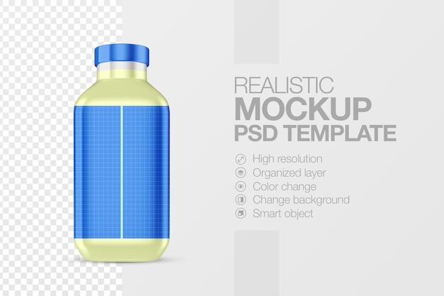 Realistische saftflaschen-mock-up-vorlage