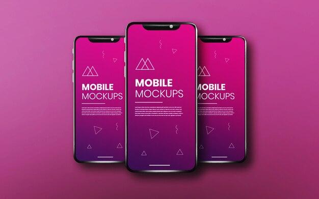 Realistische & saubere app bildschirm drei smartphone-modell