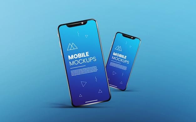 Realistische & saubere app bildschirm zwei smartphone-modell