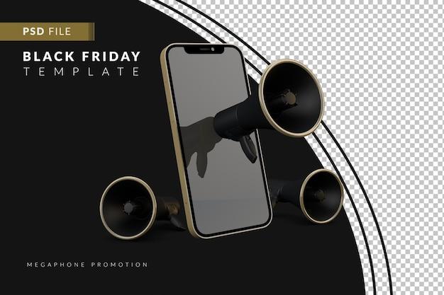 Realistische schwarze freitagsverkaufsgoldfarbe mit smartphone und megaphon 3d-rendering