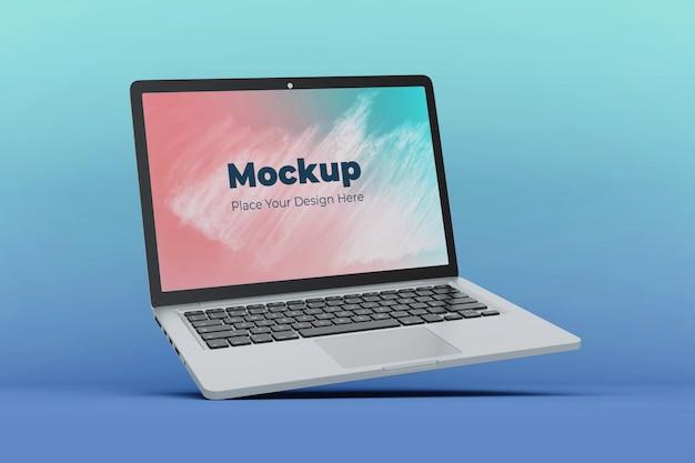 Realistische schwebende laptop-anzeigemodell-entwurfsvorlage