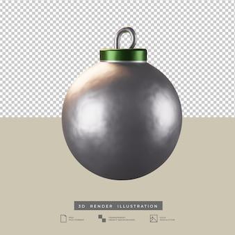 Realistische silberne weihnachtskugel 3d render illustration