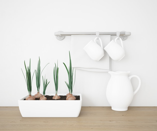 Realistische tassen und teekanne in einer küche