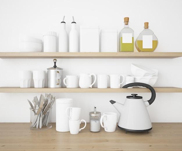 Realistische utensilien küche und besteck modell
