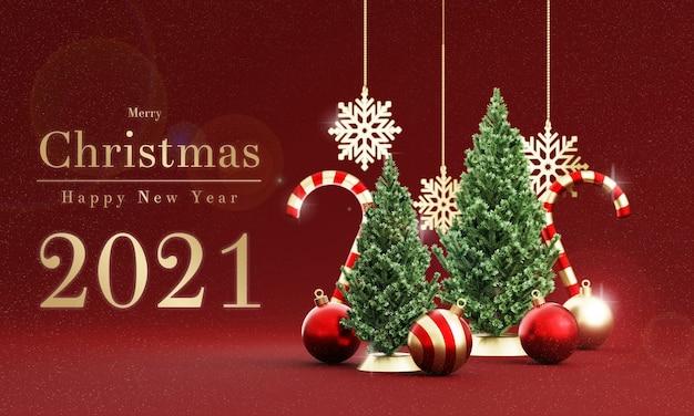 Realistische weihnachtsdekoration im 3d-rendering