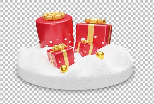 Realistische weihnachtsgeschenkbox mit lampe im schnee