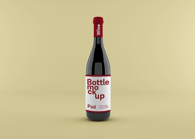 Realistische weinflasche mit etikettenmodell