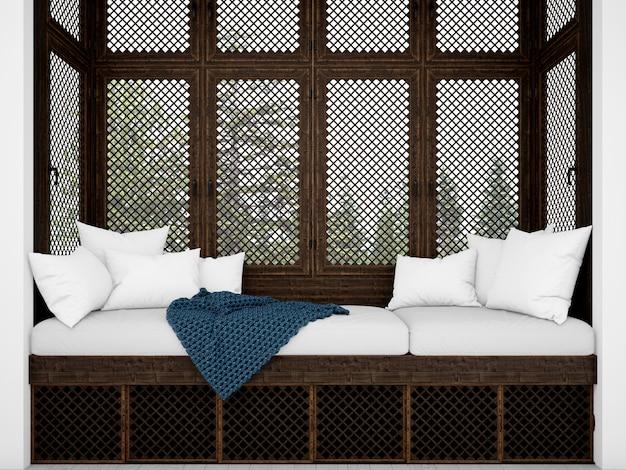 Realistische weiße kissen auf einem rustikalen sofa