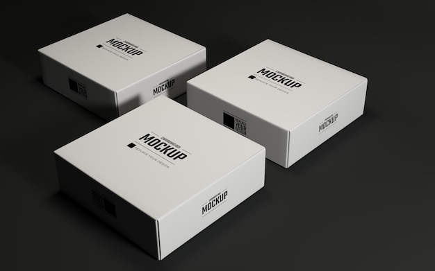 Realistische weiße quadratische kartonschachteln mockup