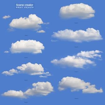 Realistische weiße wolke gesetzt